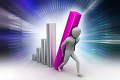 3d man holding business graph. 3d illustration of man holding business graph Royalty Free Stock Photography