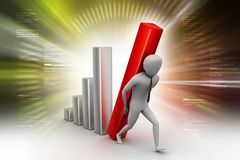 3d man holding business graph. 3d illustration of man holding business graph Stock Photography