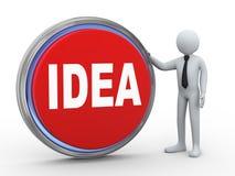 3d businessman with idea button Stock Photo