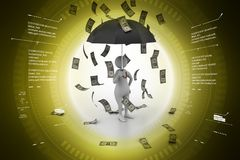 3d illustration of  Man in money rain in color background. 3d illustration of Stock Photos