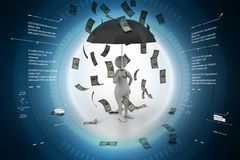 3d illustration of Man in money rain. In color background Royalty Free Stock Images