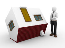 Man presenting a flipped house. 3d illustration of a man presenting a flipped house Royalty Free Stock Photo