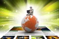 Man sitting on globe with the Laptop. On Top of the World Stock Photos