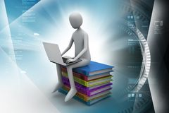 Man sitting on top of books while using laptop. 3d illustration of Man sitting on top of books while using laptop Stock Photos