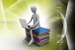Man sitting on top of books while using laptop. 3d illustration of Man sitting on top of books while using laptop Stock Photo