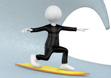 3D Illustration of a Man Surfing on Water Royalty Free Stock Images