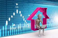 3d man work at home. 3d illustration of  man work at home   concept Stock Images