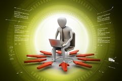 3d illustration of   man working on laptop. 3d illustration of Royalty Free Stock Photography