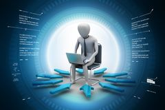 3d man working on laptop. 3d illustration of  man working on laptop in color background Royalty Free Stock Images