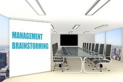 MANAGEMENT BRAINSTORMING concept. 3D illustration of MANAGEMENT BRAINSTORMING title on a wide rollup placed in a conference room Stock Images