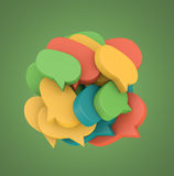 3d illustration with many colored speech bubbles. Arranged in a round shape Royalty Free Stock Photo