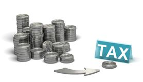 Financial Advisor, Business Tax Planning Over White Background. 3D illustration of many piles of coins and an arrow pointing a blue sign over white background Stock Photography