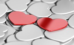 Marriage Agency, Matchmaking Concept, Finding Your Soulmate. 3D illustration of many white heart shapes and two red ones side by side. Abstract concept of love Royalty Free Stock Photos