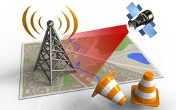 3d repair cones. 3d illustration of map with antenna and satellite Stock Photo