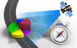 3d business data. 3d illustration of map with business data and compass Royalty Free Stock Image
