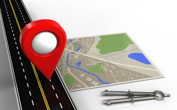 3d blank. 3d illustration of map with location pin and circle tool Royalty Free Stock Images