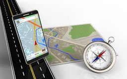 3d compass. 3d illustration of map with mobile phone navigation and compass royalty free illustration