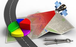 3d business data. 3d illustration of map paper with business data and circle tool Stock Photos