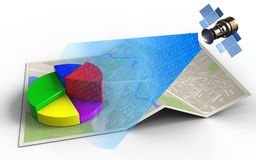 3d blank. 3d illustration of map paper with business data and satellite digital signal Stock Photography