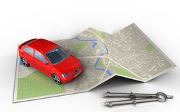 3d blank. 3d illustration of map paper with car and Royalty Free Stock Photos