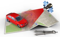 3d satellite. 3d illustration of map paper with car and satellite Royalty Free Stock Photo