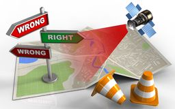 3d blank. 3d illustration of map paper with direction index and satellite vector illustration