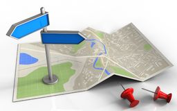 3d blank. 3d illustration of map paper with index and Stock Image