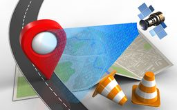 3d road. 3d illustration of map paper with location pin and repair cones Royalty Free Stock Images
