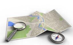 3d compass. 3d illustration of map paper with magnify glass and vector illustration