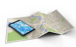 3d. Illustration of map paper with mobile phone and royalty free illustration