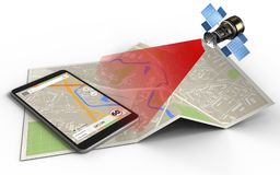 3d. Illustration of map paper with phone navigation and satellite vector illustration