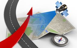 3d compass. 3d illustration of map paper with red arrow and compass stock illustration