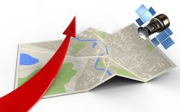 3d red arrow. 3d illustration of map paper with red arrow and gps satellite Stock Photos