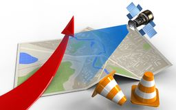 3d red arrow. 3d illustration of map paper with red arrow and satellite Stock Images