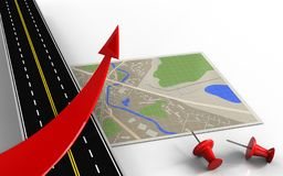 3d map. 3d illustration of map with red arrow and red pins vector illustration
