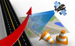 3d asphalt road. 3d illustration of map with red arrow and repair cones Royalty Free Stock Image