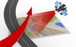 3d satellite. 3d illustration of map with red arrow and Royalty Free Stock Photography