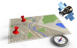 3d compass. 3d illustration of map with red pins and gps satellite vector illustration