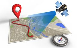 3d compass. 3d illustration of map with route and satellite royalty free illustration