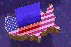 3D Illustration: Map of USA with flag superimposed Stock Photography