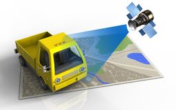 3d. Illustration of map with yellow truck and satellite vector illustration