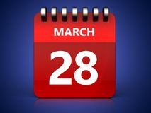 3d 28 march calendar. 3d illustration of march 28 calendar over blue background Royalty Free Stock Image