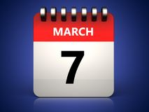 3d 7 march calendar. 3d illustration of 7 march calendar over blue background Royalty Free Stock Image