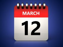 3d 12 march calendar. 3d illustration of 12 march calendar over blue background Royalty Free Illustration