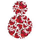 3D illustration March 8 red diamonds hearts. On a white background stock illustration
