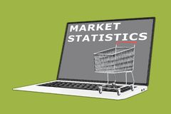 MARKET STATISTICS concept. 3D illustration of MARKET STATISTICS script with a supermarket cart placed on the keyboard Royalty Free Stock Photography