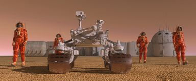 Mars colony. Expedition on alien planet. Life on Mars. 3d Illustration. Royalty Free Stock Photos