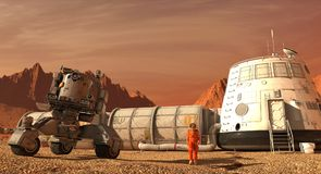 Mars colony. Expedition on alien planet. Life on Mars. 3d Illustration. Royalty Free Stock Image