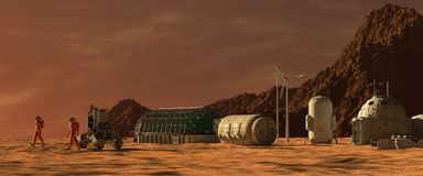 Mars colony. Expedition on alien planet. Life on Mars. 3d Illustration. Royalty Free Stock Images