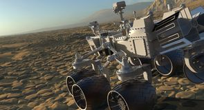 The Mars Rover on Mars 3D Illustration. 3D Illustration The Mars Rover on Mars Royalty Free Stock Image